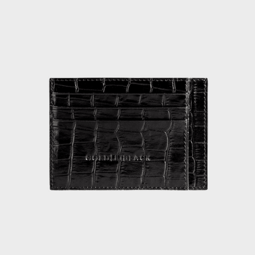 Goldblack Card Holder Bill Croco Black price in Qatar