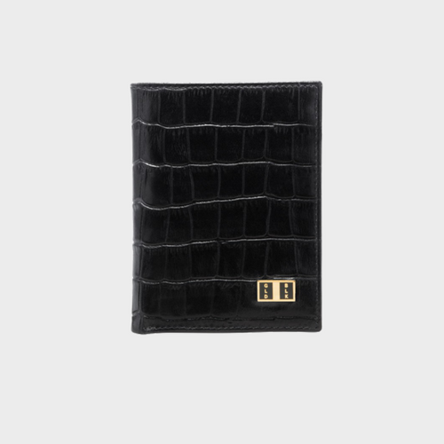 Goldblack Bifold Slim Wallet Croco Black price in Qatar