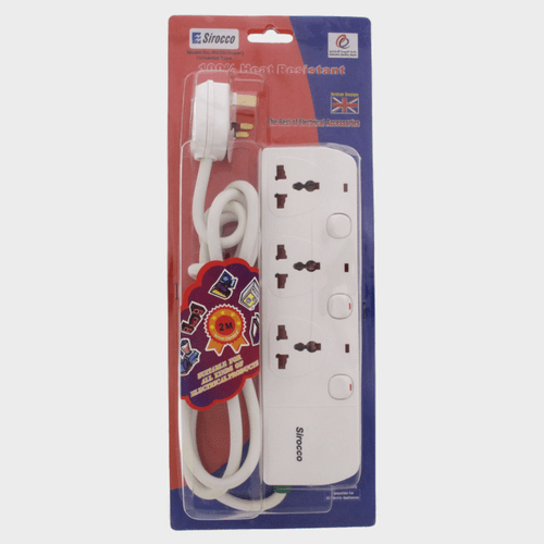 Sirocco Extension Socket 3way 2Mtr W03S Price in Qatar