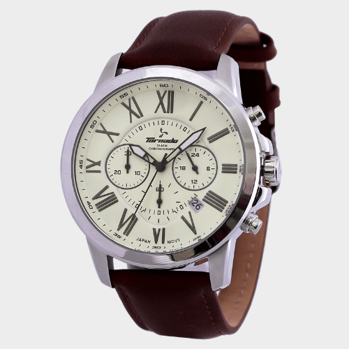 Tornado Men's Chronograph Ivory Dial Leather Band T6103-SLDI price in Qatar