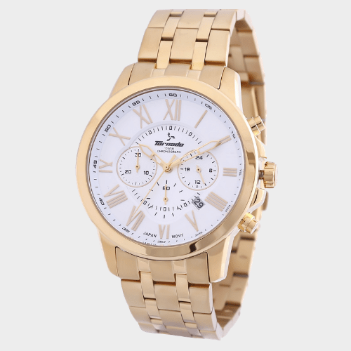 Tornado Men's Chronograph Watch White Dial Gold Band T6103-GBGW price in Qatar