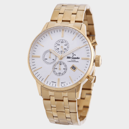 Tornado Men's Chronograph Watch White Dial Stainless Steel Gold Band- T6102-GBGW price in Qatar