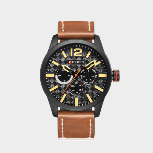 Curren Leather Strap Casual Men's Quartz Analog Watch - 8247 Price in Qatar