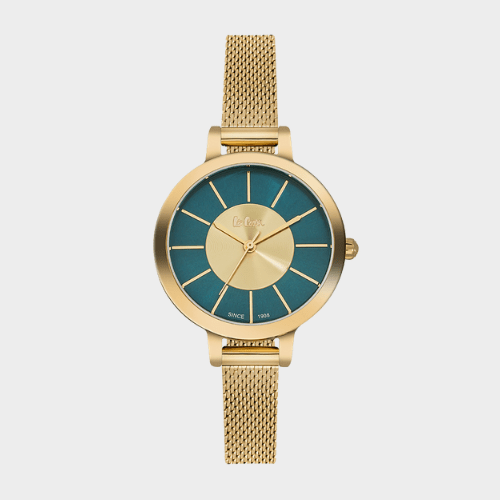 Lee Cooper Women's Analog Gold Mesh Band With Green Dial - LC06174.170 Price in Qatar