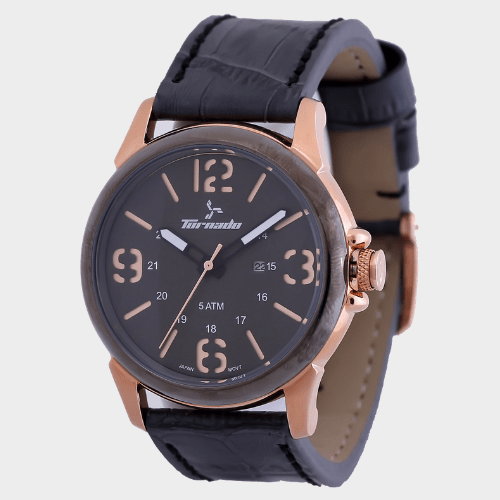 Tornado Men's Analog Grey Dial Leather Band Watch T5027-RLXX price in Qatar
