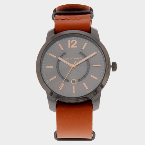 Giordano Men's Analog Watch Brown Strap With Grey Dial 1791-00 price in Qatar
