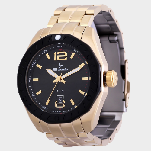 Tornado Men's Analog Watch Black Dial Stainless Steel Gold Band T5023-GBGB price in Qatar