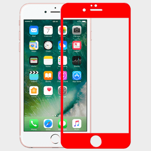 Apple compatible 2 in 1 protective glass Kit for Iphone 6 Plus Red Price in Qatar